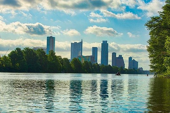 Town Lake : A shot of downtown Austin from a canoe in the lake.