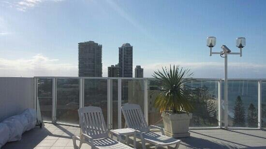 The Atrium Resort: roof top pool view