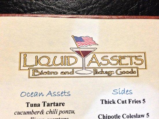 Liquid Assets: A menu