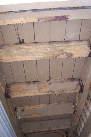 Hawthorn Suites by Wyndham Dayton North: dry rot on stairs / deck