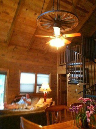Turtle Tracks Riverfront Resort, LLC : Livingroom, Spiral Stair to loft