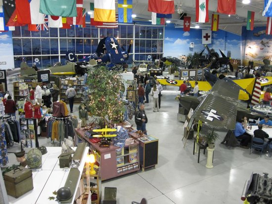 Fargo Air Museum: Overview of museum, from second floor balcony, library