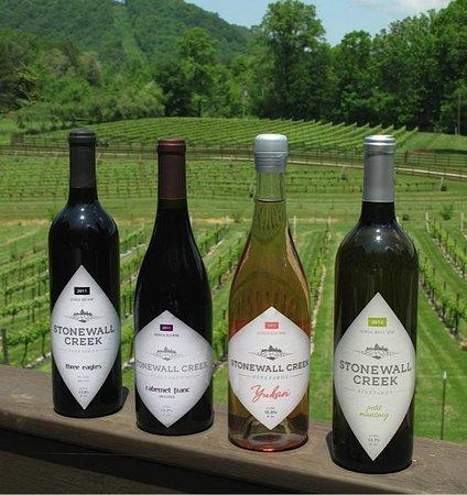 Stonewall Creek Vineyards: Four of our five wines:  Malbec blend, Cabernet Franc, Rosé & Petit Manseng.