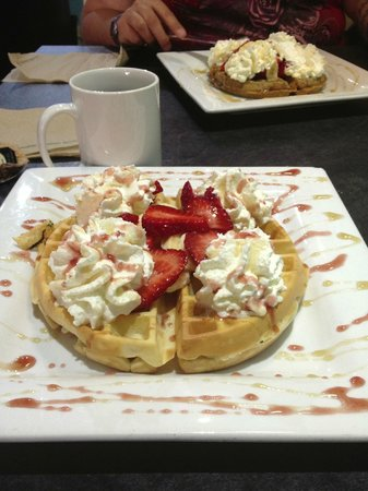 West Coast Waffles: mmmm strawberries and bananas with whipped cream!! Delicious