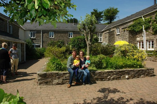 A young family enjoying a stay at Higher Bowden Holiday Cottages in 2013