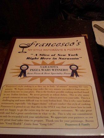Francesco's New York PIzzeria & Restaurant: menu