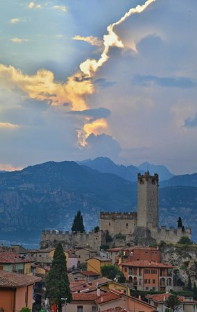 view from the balcony of Hotel Ariston to castle in Malcesine