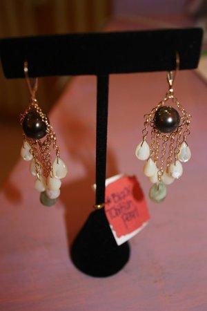 Punta de Mita, Mexico: Handmade Chandelier earing by C-Raine 14kgf, black tahitian pearls, m.o. pearls &aquamarine qtz