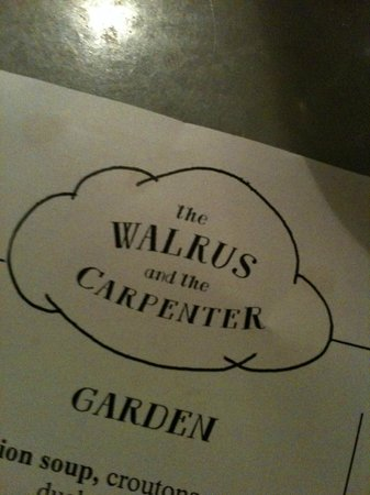 The Walrus and the Carpenter : Menu