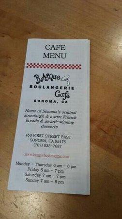 Basque Boulangerie Cafe : menu..