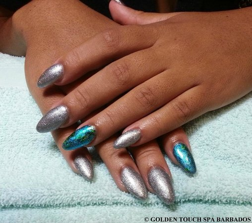 Golden Touch Spa Barbados : Gel Nails with Hologram Nail Decoration on Index and Ring Finger