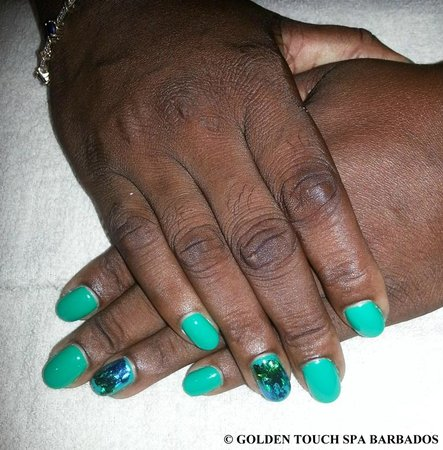 Golden Touch Spa Barbados : Gel Polish with Hologram Nail Decoration on Ring fingers