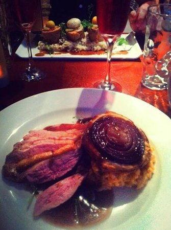 Ate O'Clock : my dinner- slice duck on a bed of chorizo risotto and a red onion tarte au Tain- beautiful!!
