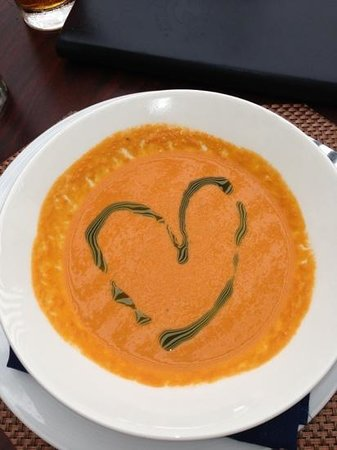 Atlantic Fish & Chop House: tomato bisque with a heart