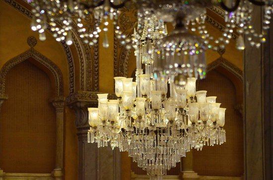 interior depicting a chandelier in chowmohalla palace complex ...