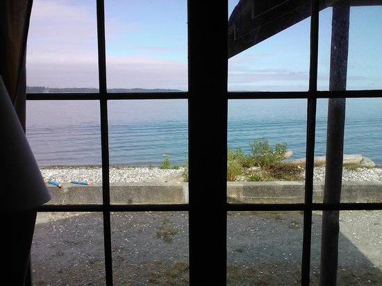 Cama Beach State Park: View from window of waterfront cabin.