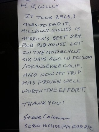 Hillbilly Willy's BBQ: sweet messages left on random paper after their meal