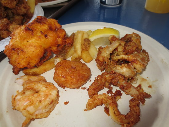 Champlin's Seafood: My first plated portion.  Shrimp, scallop, fries, whole clams, and a clam cake (which was ordere