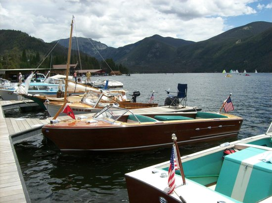 Western Riviera Lakeside Lodging & Events: Annual Antique Boat Show at public boat docks in front of Western Riviera
