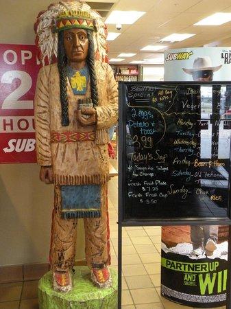 Big Sioux Cafe: Native American sculpture and specials menu