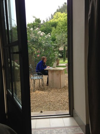La Bastide de Boulbon: View out the French doors to garden