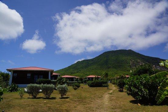 Statia Lodge : Lodges en uitzicht op vulkaan Quill