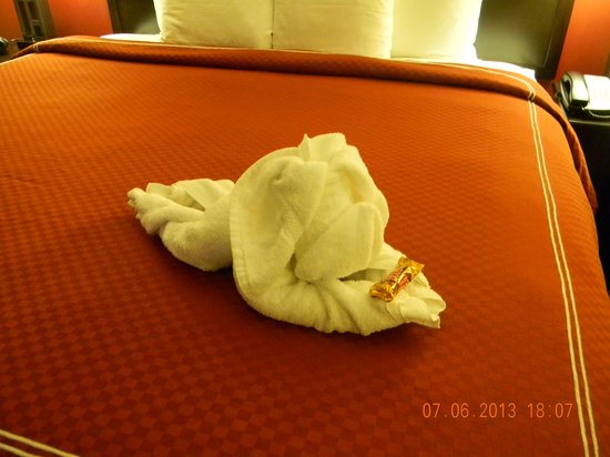 Comfort Suites Ontario Convention Center: Towel puppy greeted us to our room!