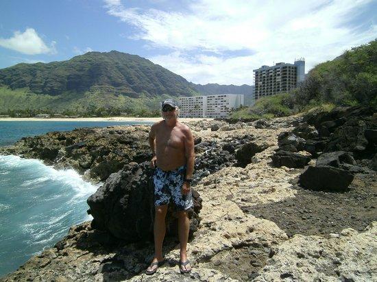 Hawaiian Princess Resort: View from the point back toward condo's