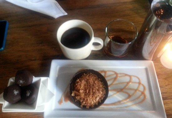 Purple Cafe and Wine Bar : VALRHONA CHOCOLATE ESPRESSO TART  & SEA SALT CARMELS
