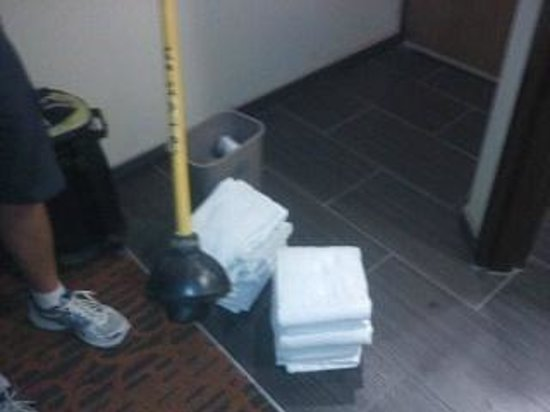 Hampton Inn Columbus South: This is what we were given to fix the toilet and dry the floor