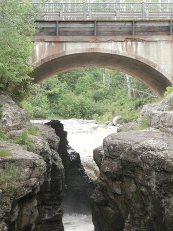 Temperance River State Park: Falls under Hwy 61 bridge before river enters Superior