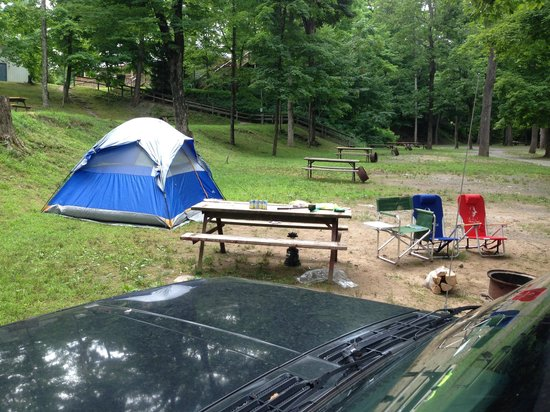 Kittatinny River Beach Campground: 1 of our tents the day we arrived during the week