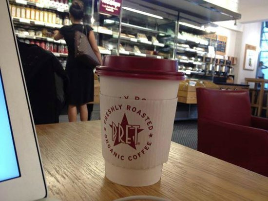 Pret A Manger: Mocha with food refrigerators in the background