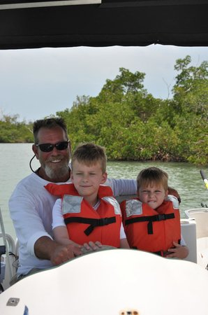 Barefoot Charters: the boys loved learning about driving the boat