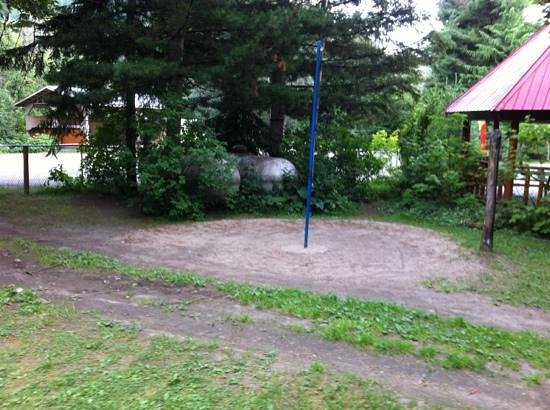 Revelstoke Campground: tether ball with no ball but propane tanks for the kids to play with