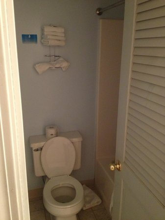 Sandy Point Beach Resort: tiny bathroom you couldn't turn around in