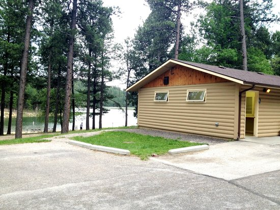 Custer State Park Campgrounds: Bath house with showers, sinks and flush toilets next to Center Lake and Lower Loop of campgroun