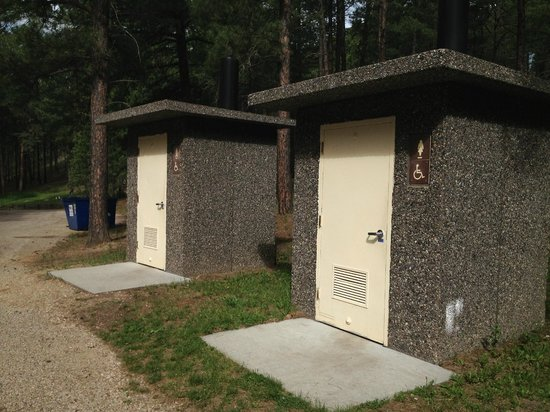 Custer State Park Campgrounds: Pit toilets at the Upper Loop of Center Lake Campground