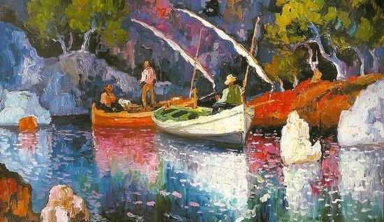 Museo Dionís Bennàssar: Barcas en Formentor. Dionís Bennàssar, óleo sobre tabla.