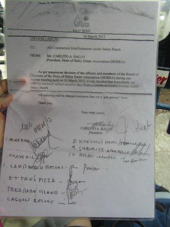 Kokomos Beach Resort: Letter stating each person should pay P30 entrance fee.