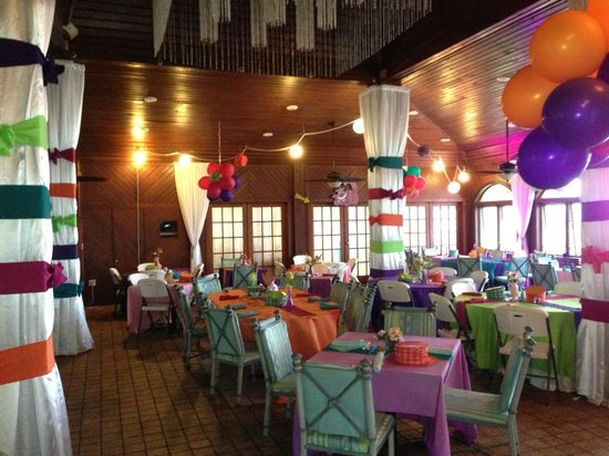The Palms at Pelican Cove: Indoor dining decorated as desired for any event big or small