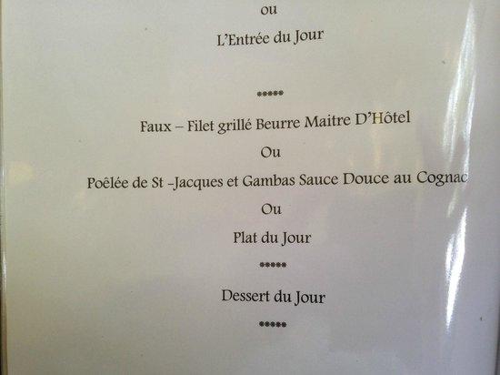 LE VIEUX LOGIS : 15 euro menu