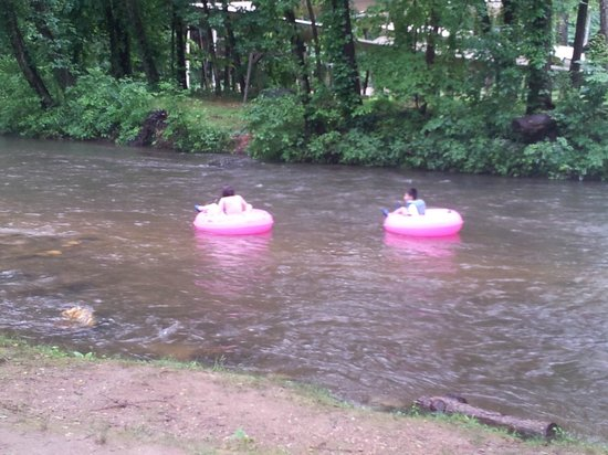 Riverbend Motel & Cabins: Watching people tube down the river from the Motel's property