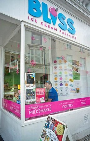 The shop front of Bliss Ice Cream Parlour in Sandown