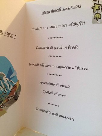 Hotel Edda: menù