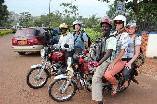 Kampala Boda Boda City Tours : Here's us and Ricky and Robert on a boda tour of Kampala. So much fun!