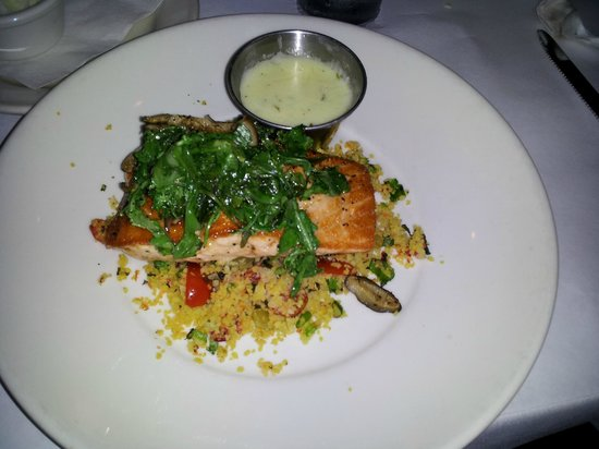 Char Restaurant: Salmon over rice, topped with arugula