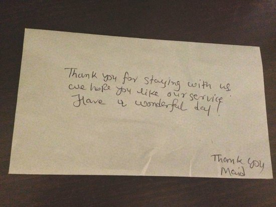 Budget Inn Clearfield: Note on an envelope from the maid