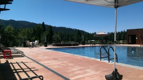 Idaho City, ID: View of the pool and large hot tub
