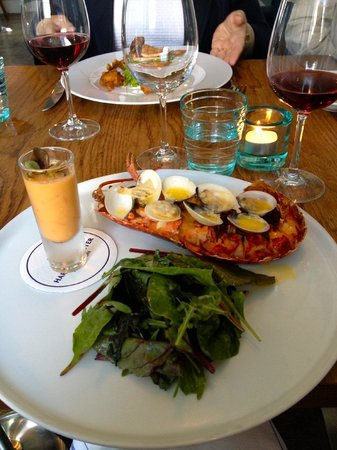 half local lobster, clams, salad and seafood gazpacho - Picture of ...